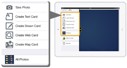 Create video, photo, text or drawn card.